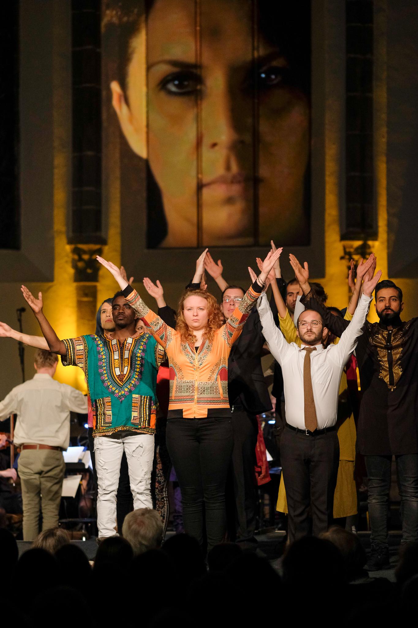 MESSIAH FÜR ALLE, Theaterprojekt von Maja Wolf und Timo Becker, Heiliggeistkirche am Dominikanerkloster,Frankfurt/M., 22.03.19, Foto:Tim Wegner  www.timwegner.de